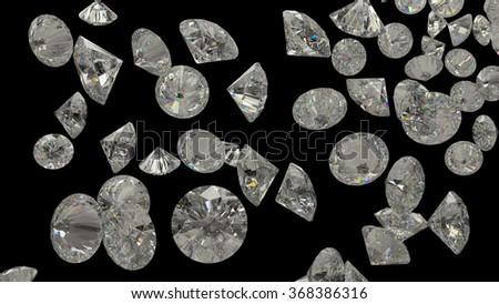 Diamonds or gemstones isolated on black background - stock photo