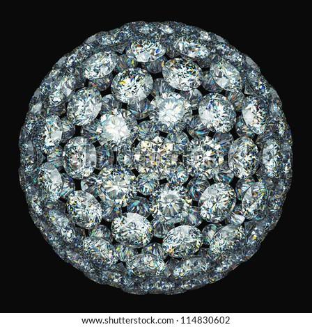 Diamonds or gemstones sphere isolated over black - stock photo