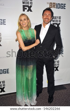 "Diane Kruger & Demian Bichir at the premiere for their new FX TV series ""The Bridge"" at the Directors Guild Theatre, West Hollywood. July 8, 2013  Los Angeles, CA"