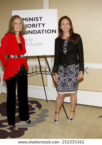 Diane Lane and Gloria Steinem at the Feminist Majority Foundation's 25th Anniversary held at the Beverly Hills Hotel in Beverly Hills, California, United States on May 1, 2012.  - stock photo