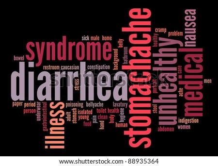 Diarrhea Symptoms Info text clouds on black background - stock photo