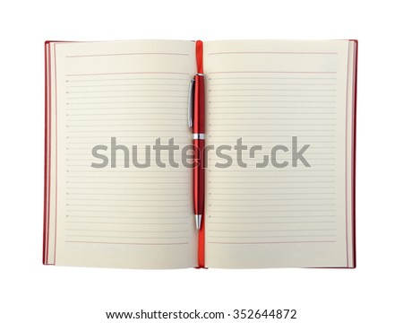 Diary and pen red color isolated on white background - stock photo