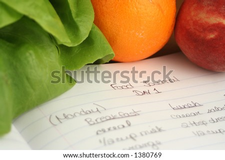 diary of food eaten throughout the day when on a diet (shallow DOF) - stock photo