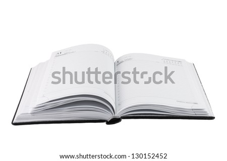 Diary. Open Diary, book, isolated on a white background.