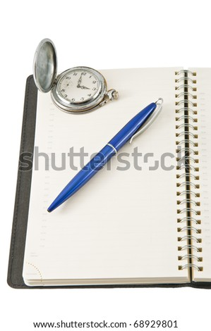 diary page in a personal organizer with a pen - stock photo