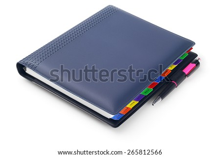 Diary With Ball Point Pen On White background - stock photo