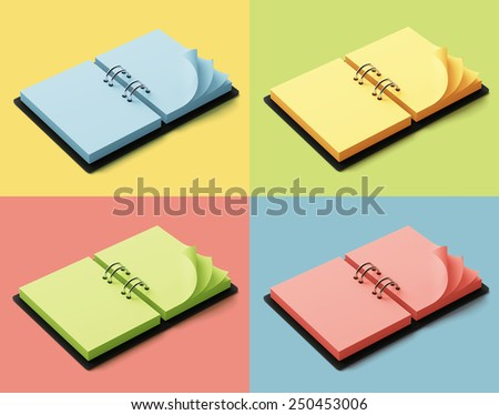Diary with colorful pages isolated on colorful background