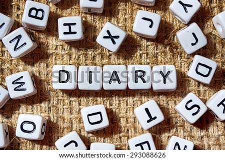DIARY word on white blocks concept - stock photo