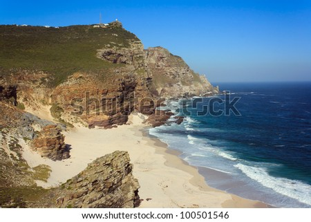 Dias Beach and the rugged cliffs between Cape Point and Cape of Good Hope, Table Mountain National Park, Cape Peninsula, Western Cape, South Africa. - stock photo