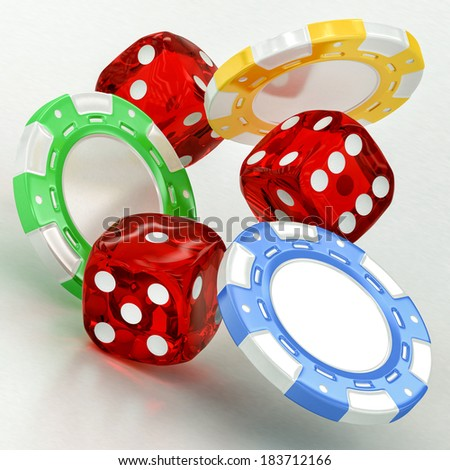 dice and chips on a white background - stock photo