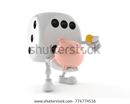 Dice character holding piggy bank isolated on white background. 3d illustration