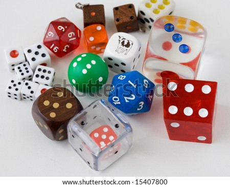 Dice collection on a white background