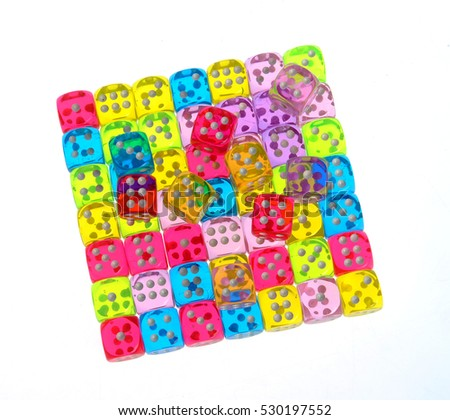 dice, different colors, random, isolated white background