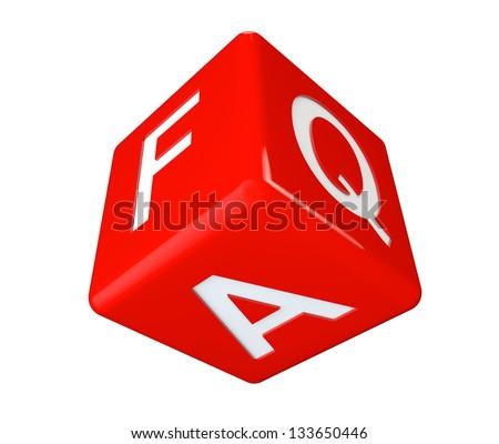 Dice faq icon cube on a white background - stock photo