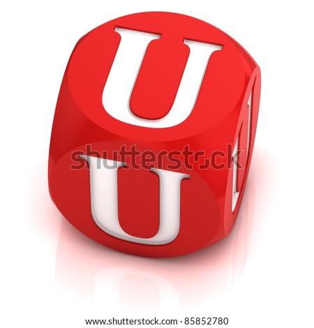 dice font letter U - stock photo