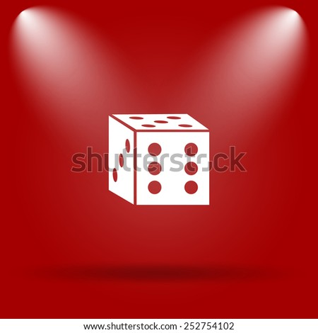 Dice icon. Flat icon on red background.  - stock photo