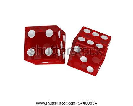 Dice isolated on white background. High quality 3d render. - stock photo