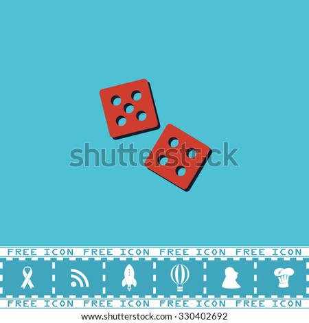 Dice. Red flat symbol with dark shadow and bonus icon. Simple illustration pictogram on blue background - stock photo
