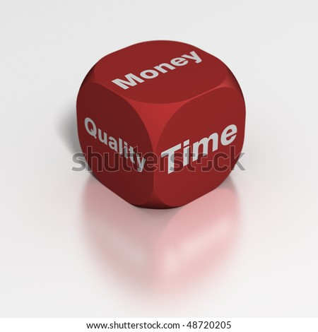 Dice: Time, Quality or Money? - stock photo