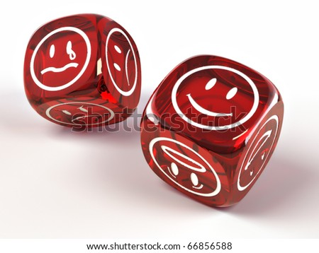 Dice with different emotions on faces on white isolated background. 3d - stock photo