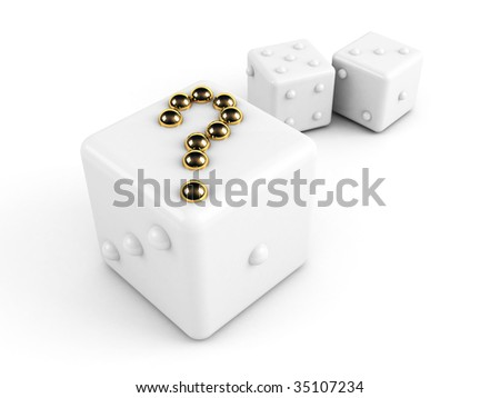 dice with gold question-mark - stock photo