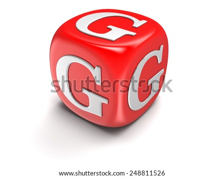 Dice with letter G (clipping path included) - stock photo