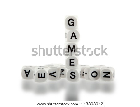 DIce with letters, isolated on white background - stock photo