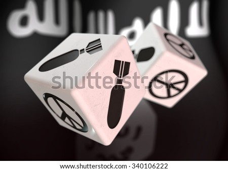 Dice with war and peace symbols on each side. Rolling dice with ISIS flag in background. Concept for deciding to go to war or to choose peaceful alternatives.