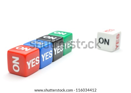 Dice with Yes, No - stock photo