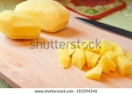 Diced potatoes - stock photo