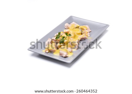 diced salmon with creamed vegetables, a meal rich in omega 3 - stock photo