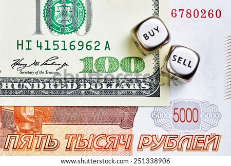 Dices cubes, RUB, USD  banknotes - stock photo