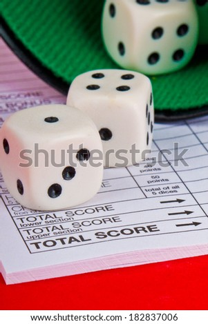 Dices game, yahtzee - stock photo