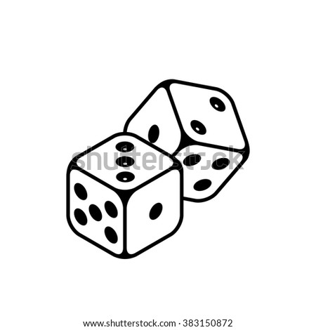 Dices icon isolated on the white background - stock photo