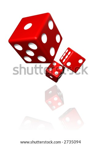 Dices isolated on white with faded reflection