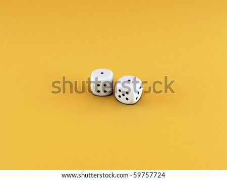 dices isolated on yellow background