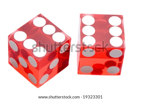 Dices of the casino a over white background - stock photo