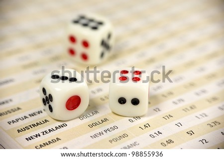 Dices on currency report  for business concept - stock photo