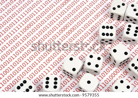 Dices on red binary numbers - stock photo