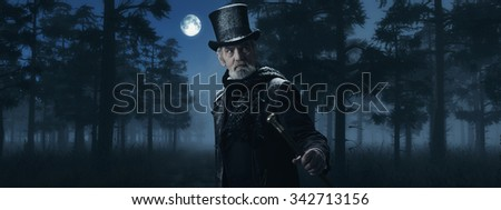 Dickens Scrooge Man with Cane in Misty Winter Forest at Moonlight. - stock photo