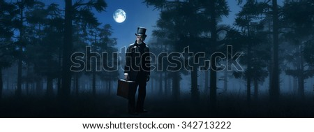 Dickens Scrooge Man with Suitcase in Foggy Winter Forest at Moonlight. - stock photo