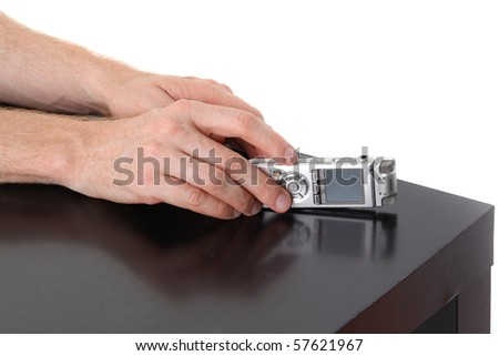 Dictaphone in male hands. Interview - stock photo