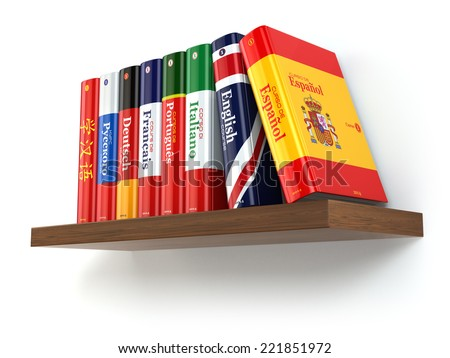 Dictionaries on bookshelf white isolated backgound. 3d - stock photo