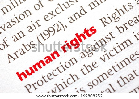 Dictionary definition of human rights. Close-up view, soft focus