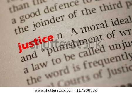 Dictionary definition of Justice. Close-up view, with  paper textures - stock photo