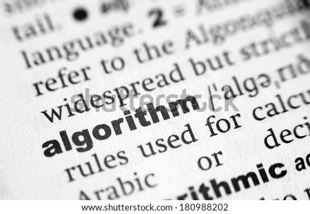 Dictionary definition of the word Algorithim - stock photo