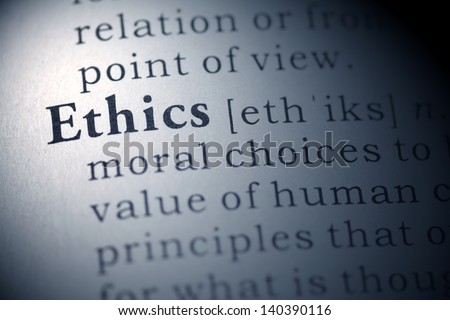 Dictionary definition of the word Ethics.  - stock photo