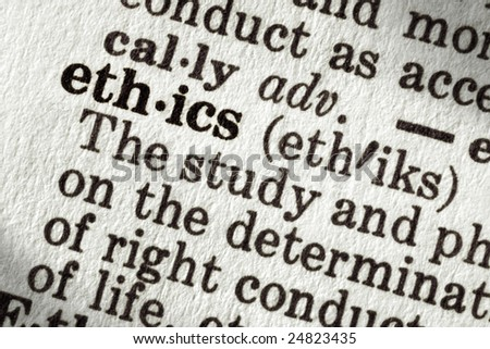 "Dictionary definition of the word ""ethics"", in macro. - stock photo"