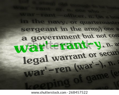 Dictionary definition of the word WARRANTY.