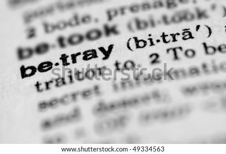 Dictionary entry for betray - stock photo